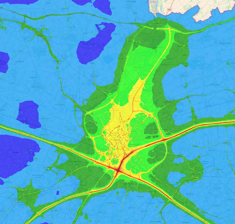 Jaargemiddelde NO2 kaart regio Gent